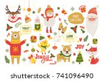 merry christmas poster with... | Shutterstock .eps vector #741096490