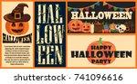 halloween celebration... | Shutterstock .eps vector #741096616