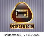 golden badge with certificate... | Shutterstock .eps vector #741102028