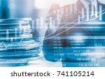 double exposure businessman and ... | Shutterstock . vector #741105214