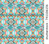 ethnic geometric pattern with... | Shutterstock .eps vector #741106156