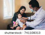 an asian doctor is checking the ... | Shutterstock . vector #741108313