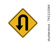 u turn sign vector art | Shutterstock .eps vector #741111064