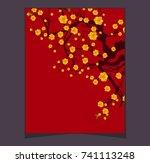vector cherry blossom for... | Shutterstock .eps vector #741113248