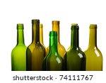 many empty green wine bottles... | Shutterstock . vector #74111767