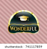 shiny badge with graduation... | Shutterstock .eps vector #741117859