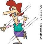 cartoon woman who has run into... | Shutterstock .eps vector #741118729