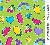cute seamless pattern with... | Shutterstock . vector #741121306