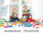 kids play with wooden toy... | Shutterstock . vector #741124120