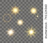 yellow star burst with sparkles.... | Shutterstock .eps vector #741124360