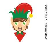 elf boy in red suit | Shutterstock .eps vector #741126856