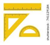 ruler  triangle ruler ... | Shutterstock .eps vector #741129184