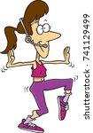 cartoon female exercise... | Shutterstock .eps vector #741129499