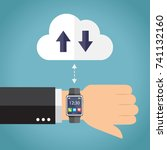 hand with smartwatch connecting.... | Shutterstock .eps vector #741132160