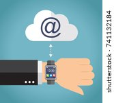 hand with smartwatch connecting.... | Shutterstock .eps vector #741132184