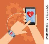 smartwatch and smartphone... | Shutterstock .eps vector #741132223