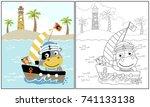 cow the sailor  vector cartoon... | Shutterstock .eps vector #741133138