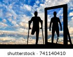 silhouette of a man with an... | Shutterstock . vector #741140410
