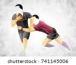 geometric player two  rugby... | Shutterstock .eps vector #741145006