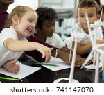 happy kids at elementary school | Shutterstock . vector #741147070