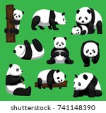 panda bear nine poses cartoon... | Shutterstock .eps vector #741148390