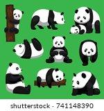 panda bear nine poses cartoon... | Shutterstock .eps vector #741148390