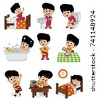 set of daily cute boy.boy wake... | Shutterstock .eps vector #741148924