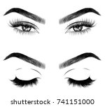hand drawn woman's fresh makeup ... | Shutterstock .eps vector #741151000