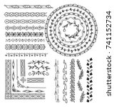 set of floral hand drawn border | Shutterstock .eps vector #741152734