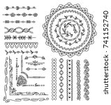 set of floral hand drawn border | Shutterstock .eps vector #741152740