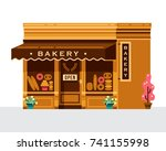 cool flat architecture bakery... | Shutterstock .eps vector #741155998