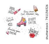 cool t shirt design in doodle... | Shutterstock .eps vector #741156526