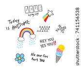 cool t shirt design in doodle... | Shutterstock .eps vector #741156538