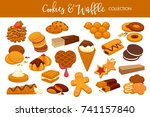 delicious cookies and waffles...   Shutterstock .eps vector #741157840