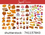 sweet collection of tasty... | Shutterstock .eps vector #741157843