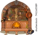 illustration of wood stove | Shutterstock .eps vector #741165589