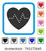 dotted heart pulse icon. flat...