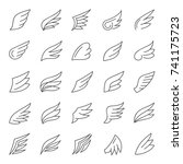 wings vector icon set | Shutterstock .eps vector #741175723