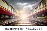 the old asia train on railway... | Shutterstock . vector #741182734