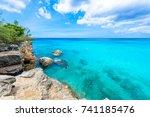 grote knip beach  curacao ... | Shutterstock . vector #741185476
