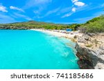 grote knip beach  curacao ... | Shutterstock . vector #741185686