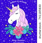 head of hand drawn unicorn with ... | Shutterstock .eps vector #741185830