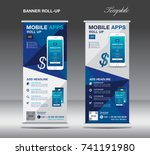 mobile apps roll up banner... | Shutterstock .eps vector #741191980