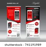 mobile apps roll up banner... | Shutterstock .eps vector #741191989