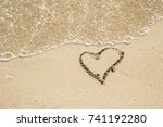 Heart On A Sand Of Beach With...