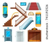 elevators and stairs in... | Shutterstock .eps vector #741192526
