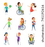 disabled people. wheelchair for ... | Shutterstock .eps vector #741192616