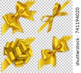 decorative set of golden bow... | Shutterstock .eps vector #741194020