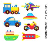 colorful baby toy transport set ... | Shutterstock .eps vector #741198784
