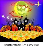 haloween vector pumpkin witch...   Shutterstock .eps vector #741199450